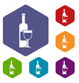 wine bottle and glass icons set hexagon vector image