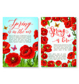hello spring greeting card with flower frame vector image