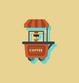coffee shop cart in sticker style vector image vector image