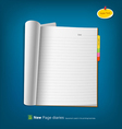 Open new page notebook vector image vector image