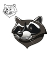 Angry cartoon raccoon mascot on white vector image