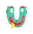 cartoon character monster letter u vector image