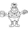 cartoon man holding a beer and a pretzel vector image