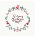 christmas hand drawn icon wreath holiday card vector image
