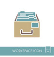 filing cabinet outline icon workspace sign vector image