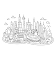 Hand line drawing futuristic city architecture vector image