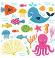 set of isolated with marine animals part 1 vector image