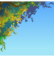 sky background with lush multi colored leaves vector image