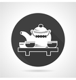 Tea ceremony black round icon vector image