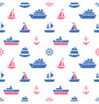 seamless pattern with blue and red sea transport vector image vector image