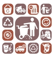 color garbage icons vector image vector image