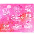 Summer set in retro style on pink watercolor vector image