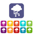 cloud and arrows icons set vector image