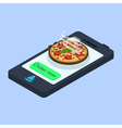 concept of online pizza order vector image