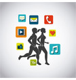 People running design vector image