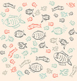 Retro Abstract Simple Outline Fish Pattern vector image