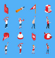 Sports fans with accessories isometric set vector image
