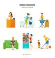 woman housewife in bathroom kitchen bedroom vector image