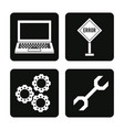 white background with monochrome squares icons of vector image
