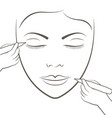 attractive lady getting facial care and tattoo and vector image
