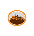 Vintage Farm Tractor Farmer Plowing Oval Retro vector image