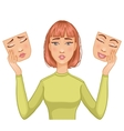 Uncertain woman with masks of happy and sad faces vector image