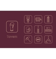 Set of tavern simple icons vector image