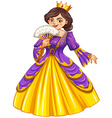 Queen wearing golden crown vector image vector image