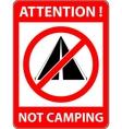 No bivouac camping prohibited symbol vector image