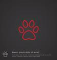 cat footprint outline symbol red on dark vector image