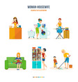 woman housewife in bathroom kitchen bedroom vector image