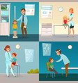kids visit doctors cartoon compositions vector image vector image