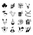Party Icons Black And White vector image