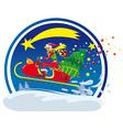 christmas sled vector image vector image
