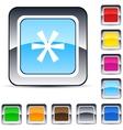 asterisk square button vector image vector image