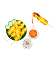 Satay or meat barbecue served with peanut sauce vector