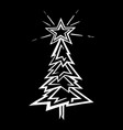 hand-drawn christmas tree stylized vector image