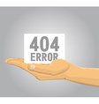 Hand holding a 404 error note vector image