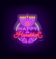 jewish holiday hanukkah is a neon sign a greeting vector image