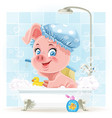 Pretty pink little piggy taking a bath with foam vector image