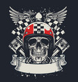 skull of biker in t-shirt style design vector image