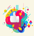 Thumb up on abstract colorful spotted background vector image