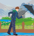 walk in a windy day vector image