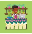 Florist at flower shop vector image