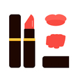 Flat design lipstick tube with red lips swatches vector image