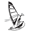 Female windsurfer in the sea vector image