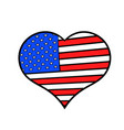 heart in the usa flag colors icon cartoon vector image