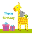 Happy Birthday card with cute giraffe koala and vector image