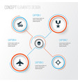 Army icons set collection of aircraft cranium vector image