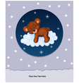 Baby bear sleeping on cloud vector image